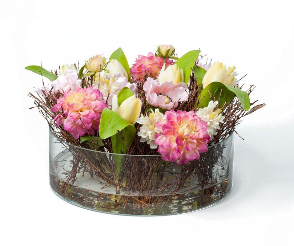 Цветочная композиция искусственных цветов в вазе L'HUMEUR DE LA NATURE